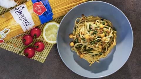 Vegetarijanski spaghetti - Spaghetti sa češnjakom, špinatom i skyrom