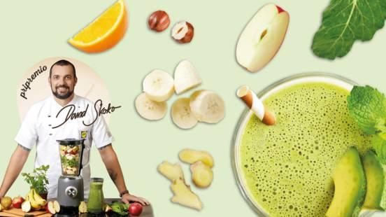 Smoothie od naranče, banane, jabuke, blitve, đumbira i lješnjaka