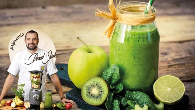Smoothie od kivija, jabuke, špinata, celera i chia sjemenki