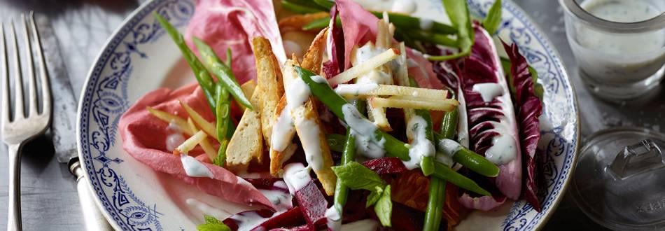 Zimska salata od mahuna s tofuom i dresingom od jogurta
