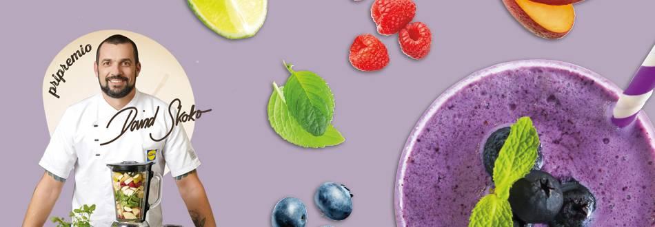 Smoothie od borovnica, nektarina, malina i mente