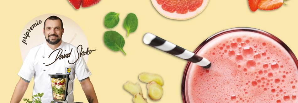 Smoothie od crvenog grejpa, jagoda, špinata, đumbira i sjemenki lana